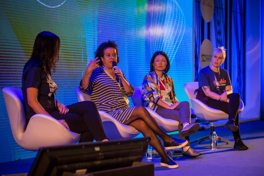 Painel sobre empoderamento feminino na tecnologia na Campus Party 2019 — Foto: Fábio Tito/G1