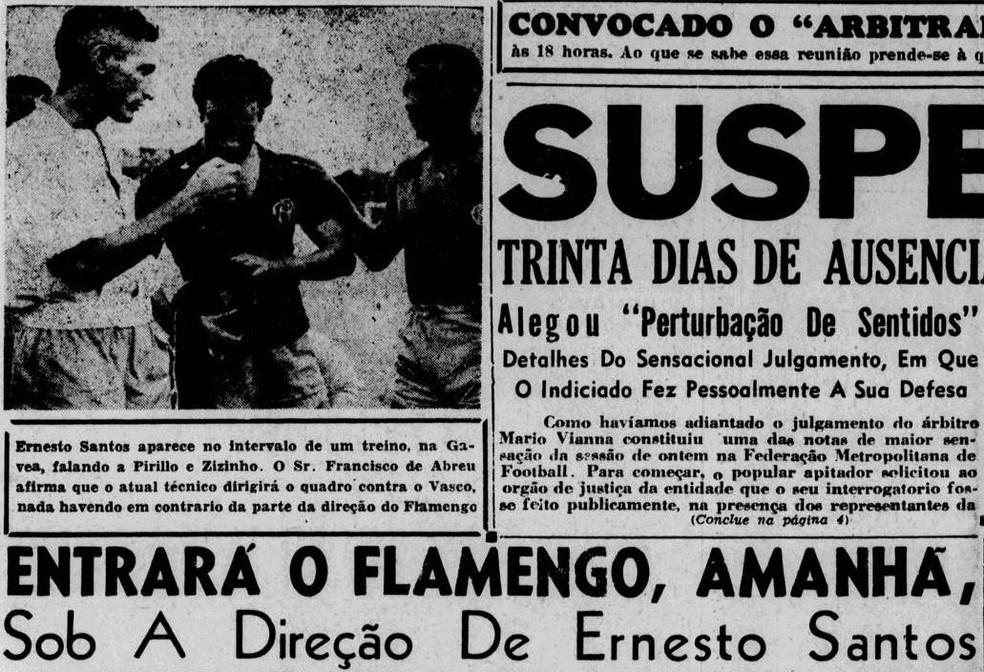 Santos em um raro registro de jornal quando virou técnico do Flamengo — Foto: Reprodução / Jornal dos Sports