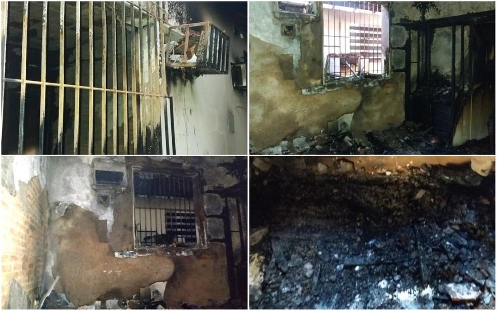 Quarto ficou completamente destruído depois do incêndio (Foto: VC no ESTV)