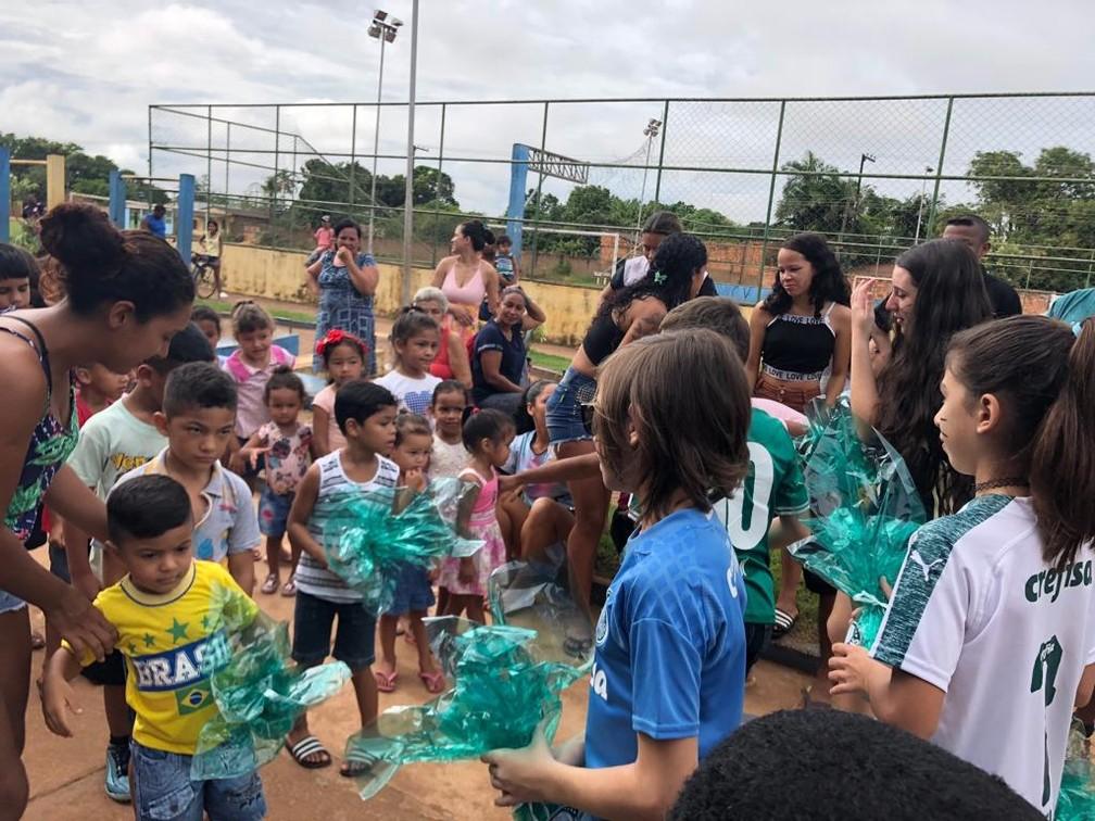 Ação social do Palmeiras realizada em RO  — Foto: Porto Verde/Divulgação