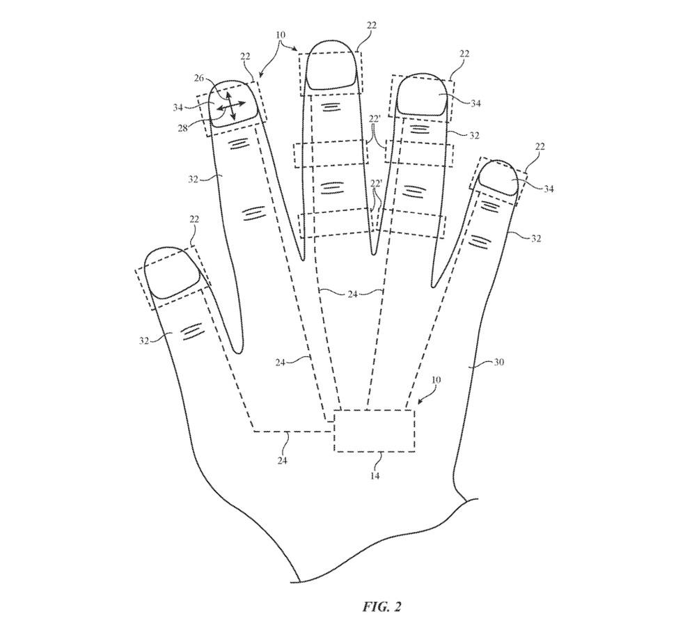 Ideia da Apple poderia funcionar como um tipo de controle para realidade aumentada e virtual — Foto: Divulgação/USPTO