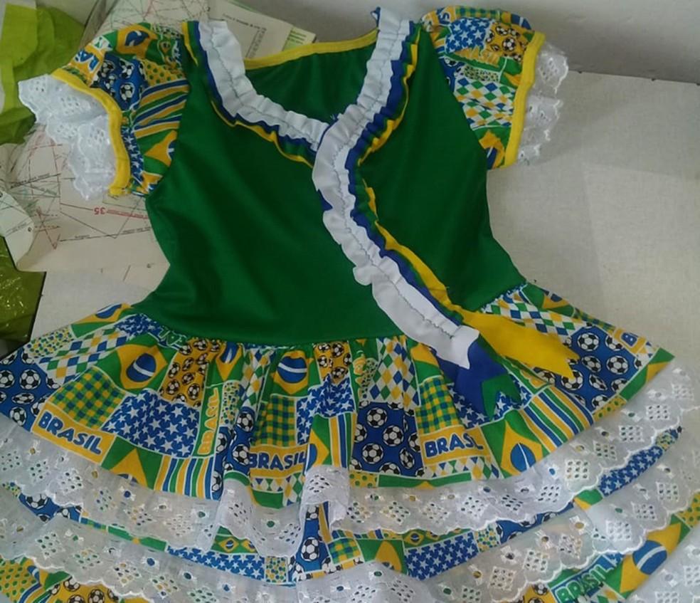 Vestido junino costurado por Analice da Paixão — Foto: Arquivo Pessoal