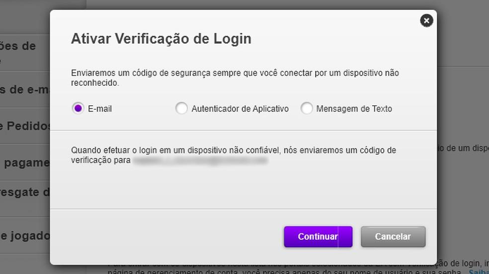 Escolha por qual método deseja receber o código de segurança da sua conta Electronic Arts ao tentar realizar o login — Foto: Reprodução/Rafael Monteiro