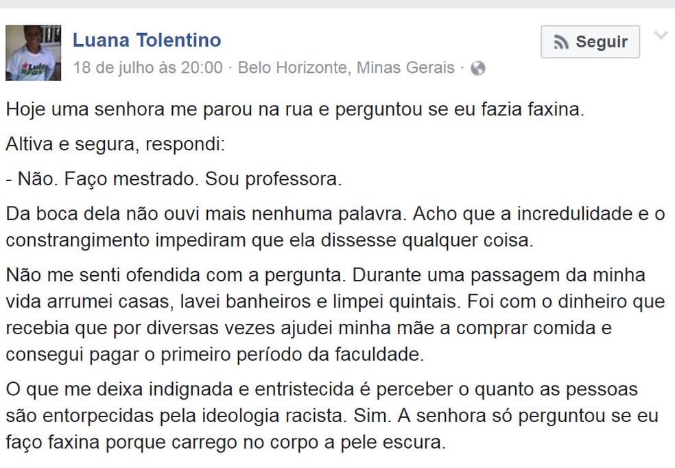 Texto escrito por professora sobre pergunta preconceituosa viraliza na internet.  (Foto: Reprodução/Facebook)