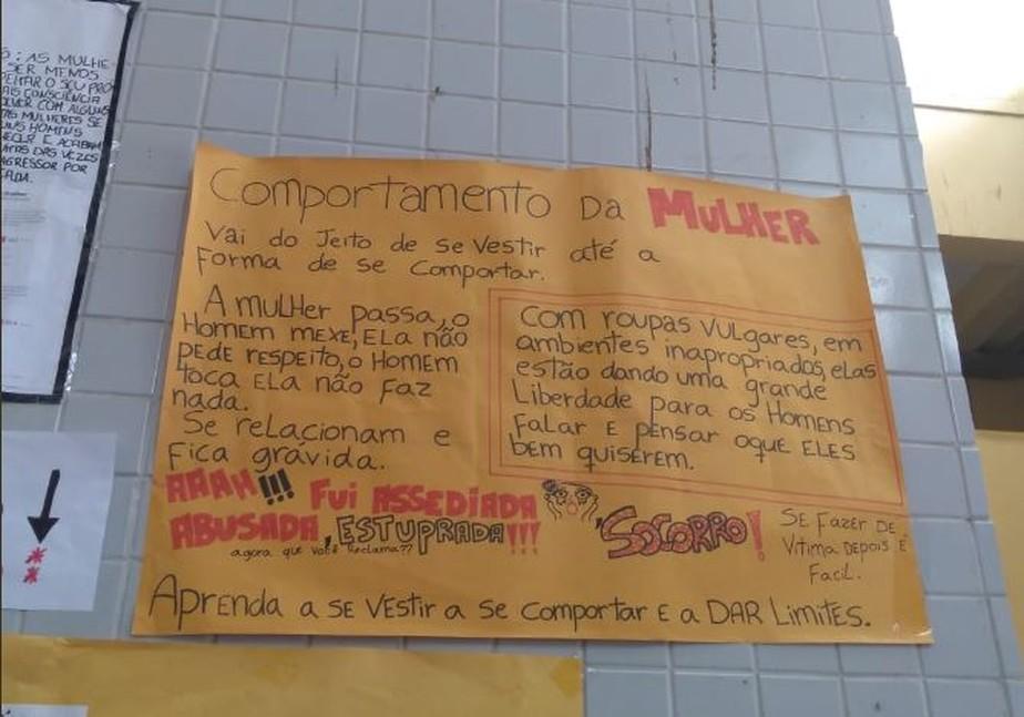 Cartazes com frases machistas em escola de Vila Velha, ES, geram revolta na web