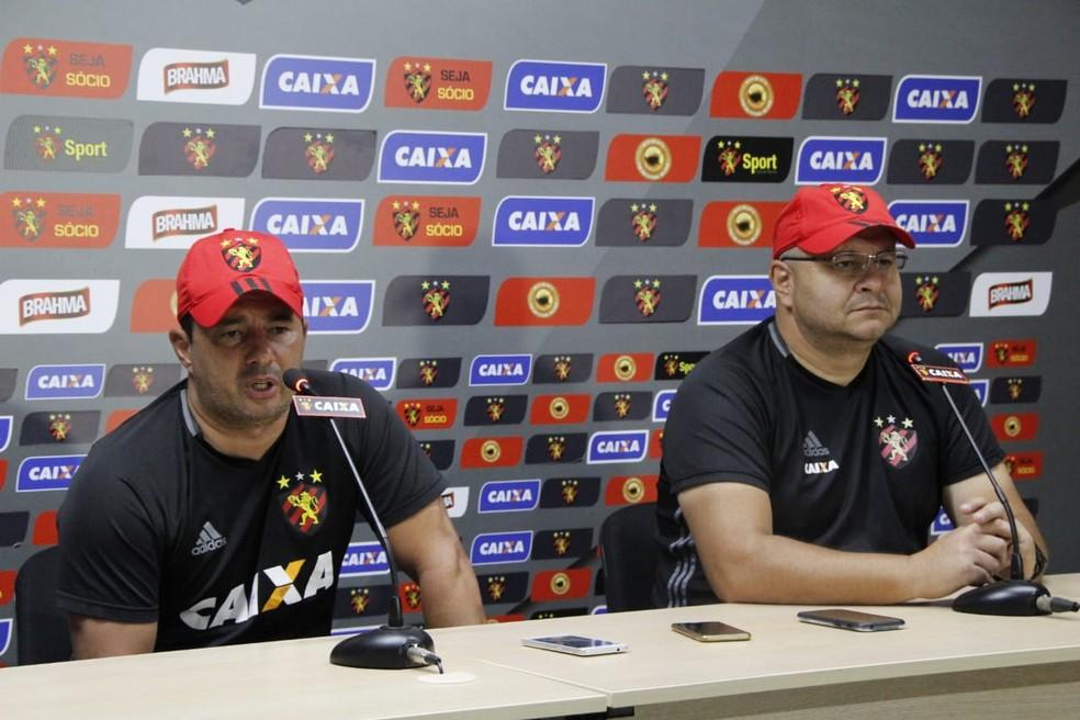 Luiz Fernando Goulart e Luciano Gusso falaram sobre a volta do Sport (Foto: Williams Aguiar / Sport)