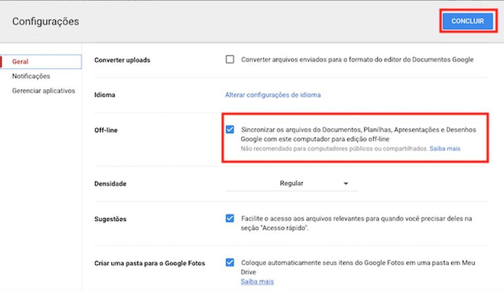 Configurações para tornar o Google Docs disponível off-line — Foto: Reprodução
