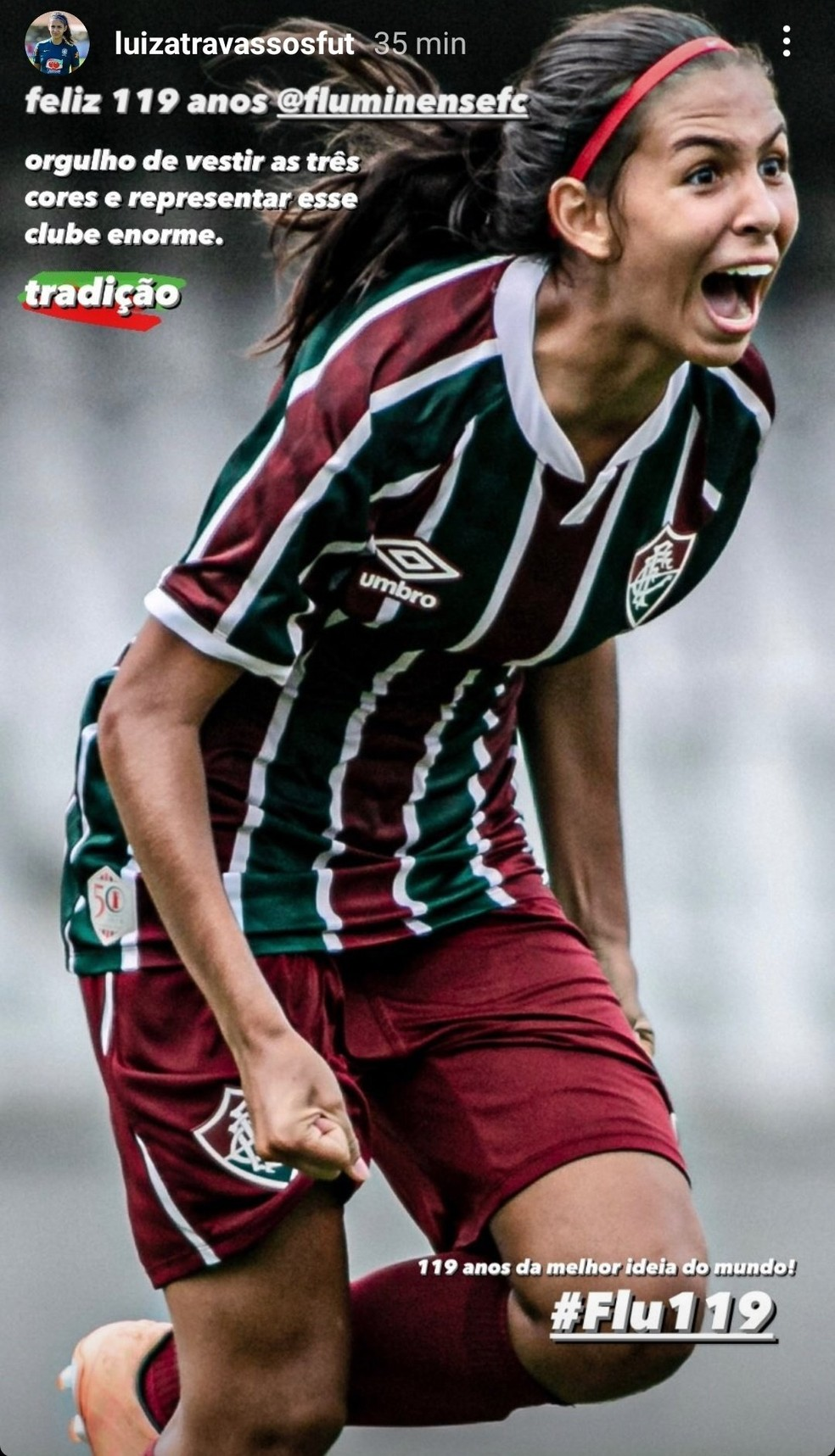 Luiza Travassos parabeniza o Fluminense — Foto: Reprodução