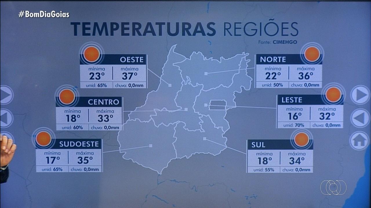 Confira previsão do tempo na sua região em Goiás