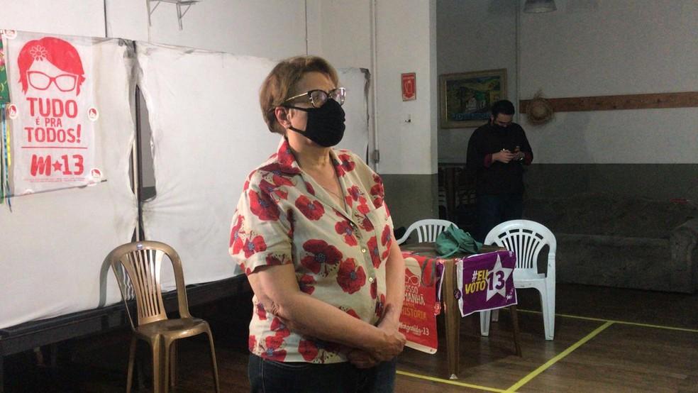 Margarida Salomão durante entrevista coletiva após a vitória em Juiz de Fora — Foto: Caroline Delgado/G1
