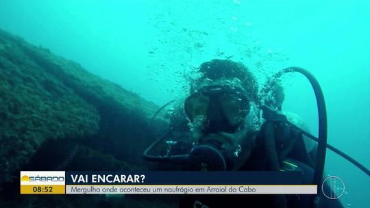 """""""Vai Encarar?"""" mergulha em naufrágio Teixeirinha e mostra espetáculo da natureza em Arraial"""