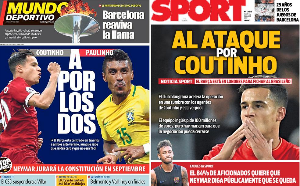Capas de jornais de Barcelona colocam Coutinho e Paulinho na mira do clube catalão (Foto: Reprodução)