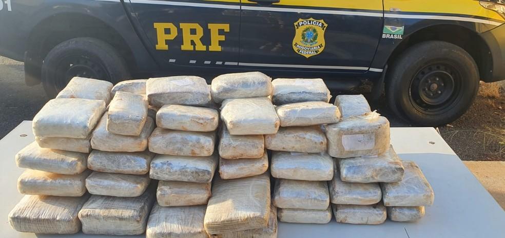 Foram apreendidos, ao todo, 53,5 kg de drogas do tipo 'Skunk' — Foto: Ascom PRF