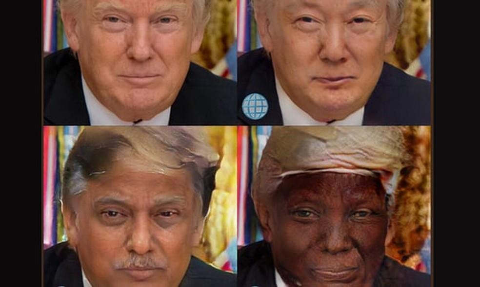 FaceApp mostra foto de Donald Trump modificada por filtros 'étnicos' do aplicativo (Foto: Reprodução/FaceApp)