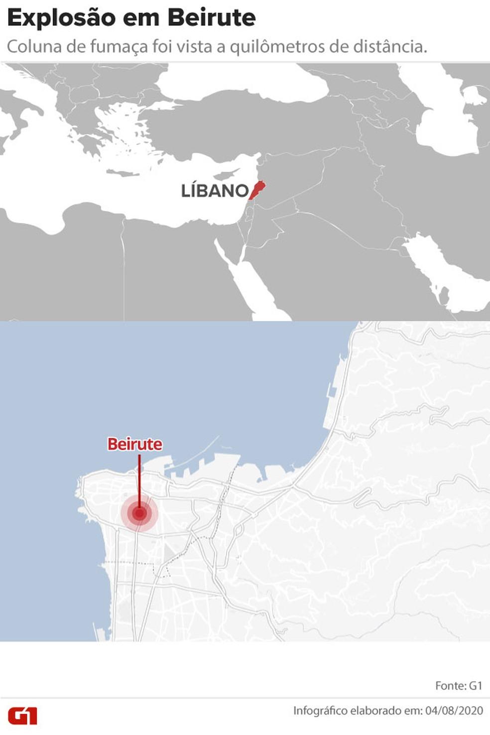 Mapa mostra a localização de Beirute, no Líbano — Foto:  G1
