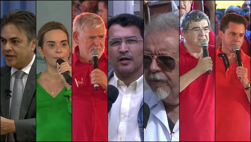 Candidatos ao Senado pela PB nas eleições 2018, em ordem alfabética: Cássio Cunha Lima (PSDB), Daniella Ribeiro (PP), Luiz Couto (PT), Nelson Júnior (Psol), Nivaldo Mangueira (Psol), Roberto Paulino (MDB), Veneziano Vital do Rêgo (PSB) (Foto: TV Cabo Branco/Reprodução)