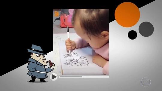 Vídeo de menina chinesa de 3 anos desenhando é verdadeiro ou falso?