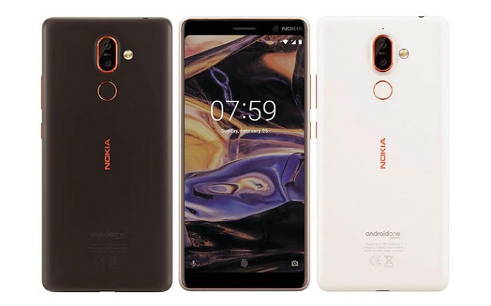 Nokia 7+ pode aparecer com design atualizado, detalhes em laranja e câmera dupla (Foto: Reprodução/Evan Blass)