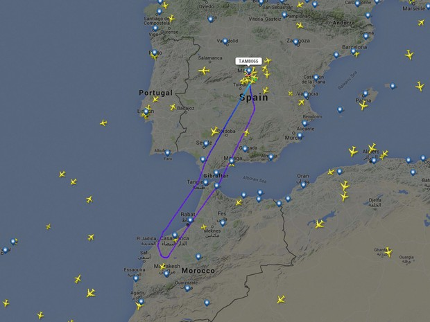 Imagem do site de monitoramento de voos Flight Radar mostra o trajeto do voo da Tam que retornou a Madri (Foto: Reprodução/Flight Radar)