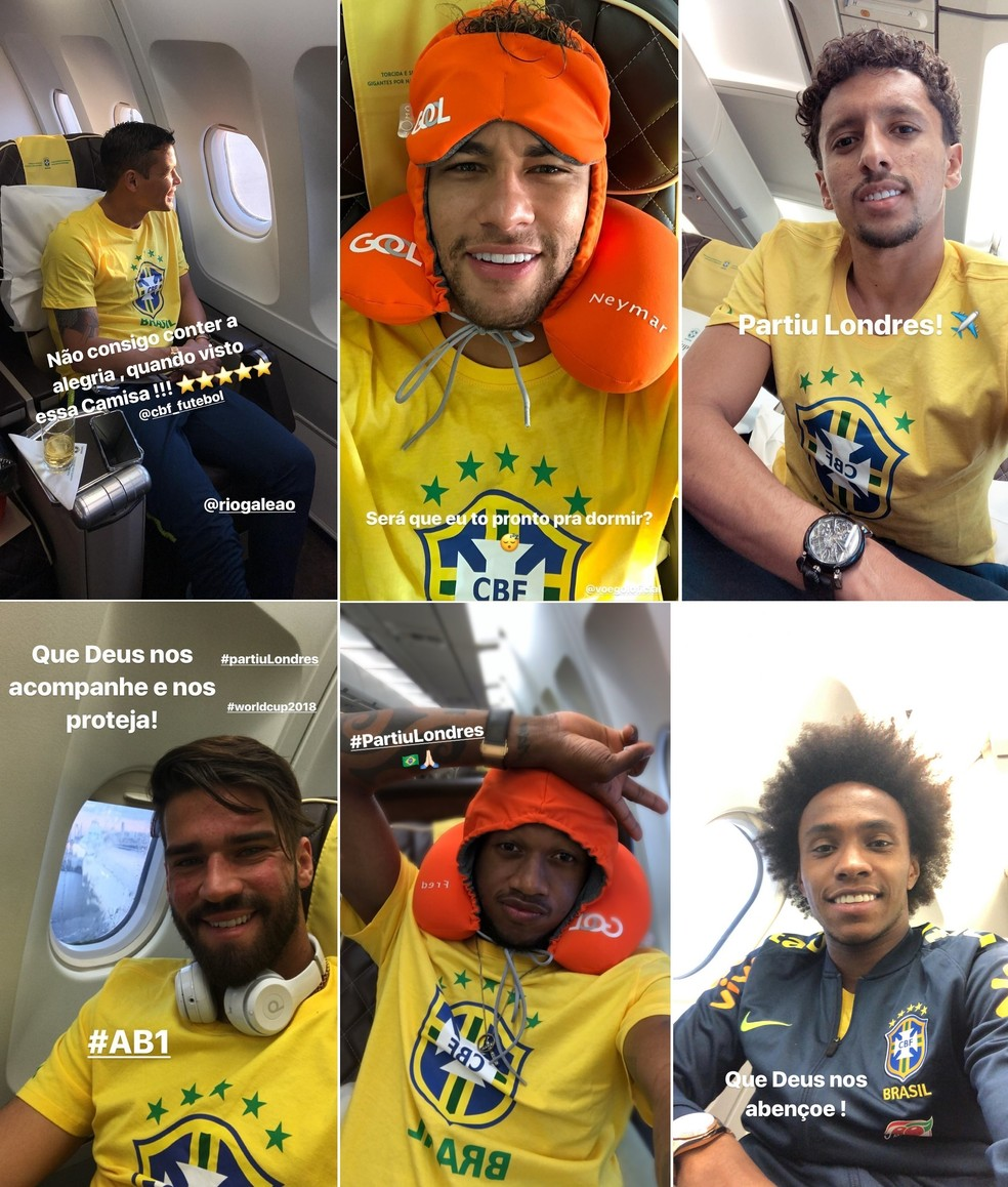 Thiago Silva, Neymar, Marquinhos, Alisson, Fred e Willian postam dentro do avião da seleção brasileira (Foto: Reprodução de Instagram)