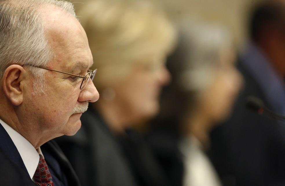 O ministro Edson Fachin durante sessão do Supremo Tribunal Federal (STF) — Foto: Rosinei Coutinho/SCO/STF