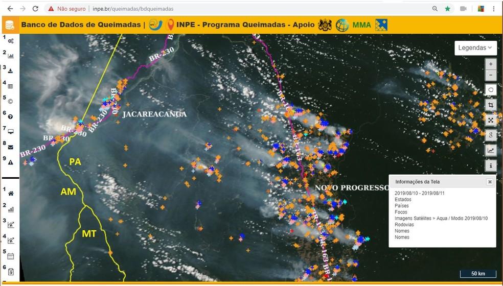 Imagem de satélite capturada pelo Inpe no dia 10 de agosto mostra fogo em Novo Progresso — Foto: Programa Queimadas/G1