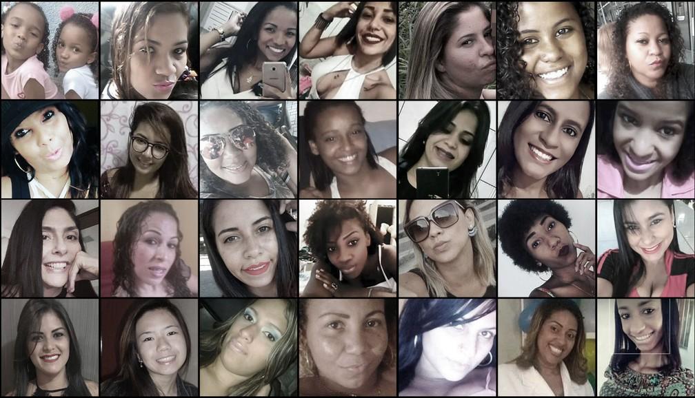 Vítimas de feminicídios cometidos em 2018 na Região Metropolitana do RJ — Foto: Reprodução/ Redes sociais