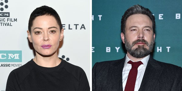 A atriz Rose McGowan e o ator Ben Affleck (Foto: Getty Images)