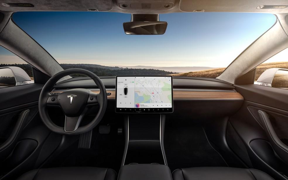 Interior do Tesla Model 3 — Foto: Divulgação