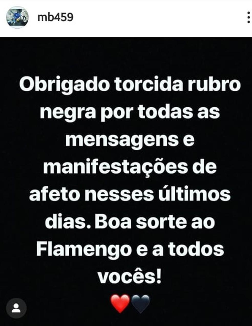 Mensagem de Balotelli para a torcida do Flamengo — Foto: Reprodução / Instagram