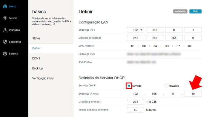 Ative o DHCP e defina o IP de início dos dispositivos conectados (Foto: Reprodução/Paulo Alves)