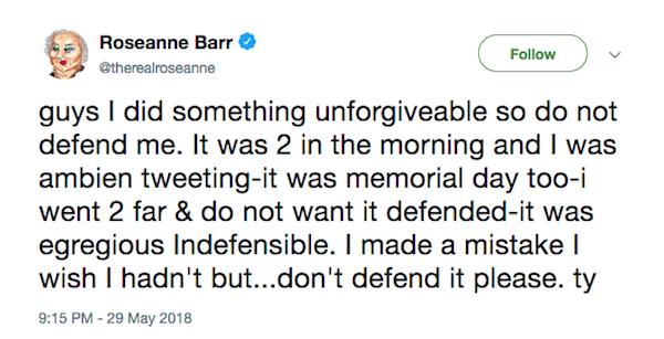 O post no qual Roseanne Barr culpa os remédios tomados por ela por sua declaração racista (Foto: Twitter)