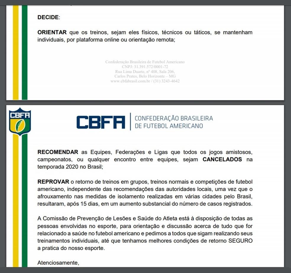 Orientações e recomendações da CBFA — Foto: Reprodução / CBFA