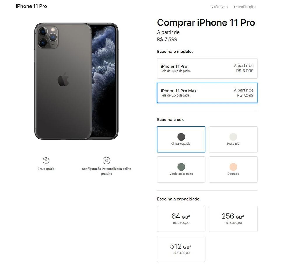 iPhone 11 Pro Max: preço no Brasil começa em R$ 7.599 — Foto: Reprodução/Bruno De Blasi