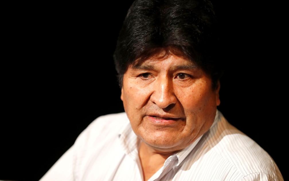 O ex-presidente da Bolívia, Evo Morales, durante entrevista coletiva em Buenos Aires, na Argentina, em 2019 — Foto: Reuters/Agustin Marcarian