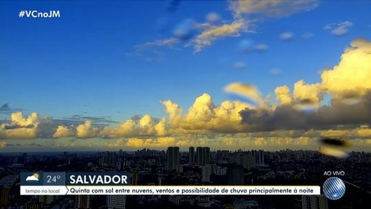 Veja a previsão do tempo para Salvador e outras cidades baianas