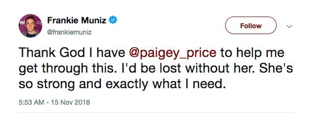 O ator Frankie Muniz agradecendo o apoio de sua namorada após encontra sua casa debaixo d'água (Foto: Twitter)