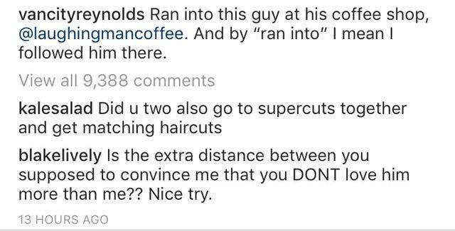 Comentário de Blake Lively na foto compartilhada por Ryan Reynolds (Foto: Instagram)