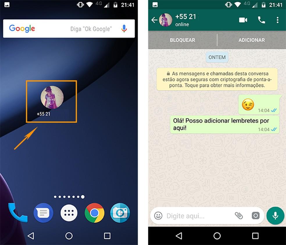 Acesse suas conversas do WhatsApp com um toque no atalho (Foto: Reprodução/Barbara Mannara)