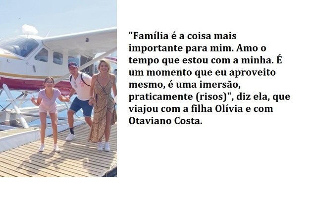 Flávia Alessandra viajou de jatinho com Otaviano Costa e a filha do casal, Olívia (Foto: Reprodução)