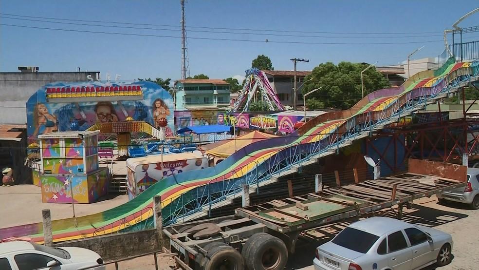 Parque de diversão onde acidente aconteceu, em Itapemirim, no Sul do ES  — Foto: Reprodução/ TV Gazeta