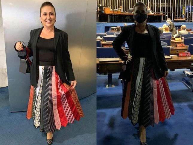 A senadora Kátia Abreu mandou fazer uma saia com gravatas dos colegas senadores. Gosto não se discute, mas simbolismo sim.