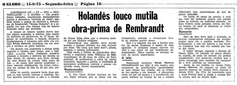 Trecho de página do GLOBO de 14 de setembro de 1975