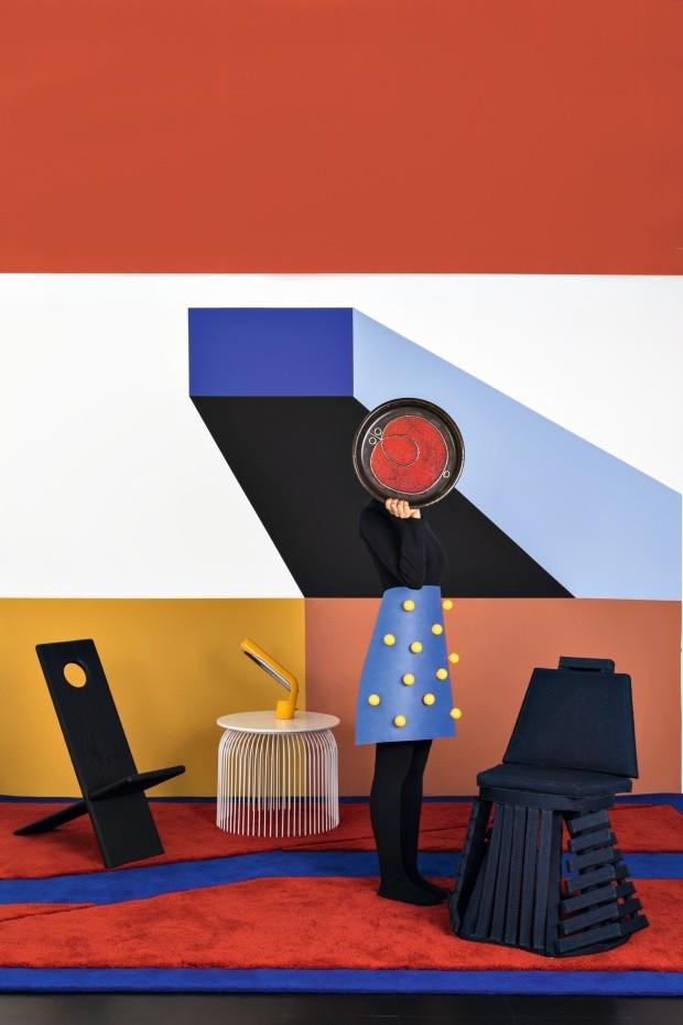 Geometria, cores e texturas da Bauhaus compõem decoração divertida