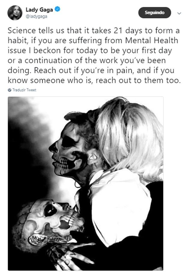 Ldy Gaga lamenta morte de Rick Genest e alerta sobre depressão e suicídio (Foto: Reprodução/Twitter)