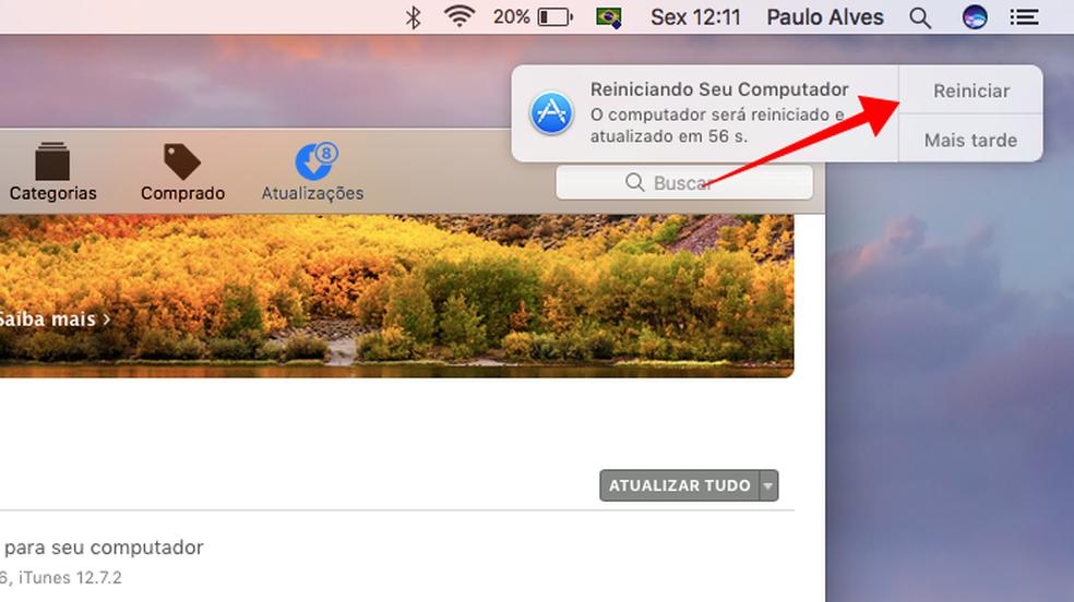 Reinicie o macOS para instalar a atualização (Foto: Reprodução/Paulo Alves)