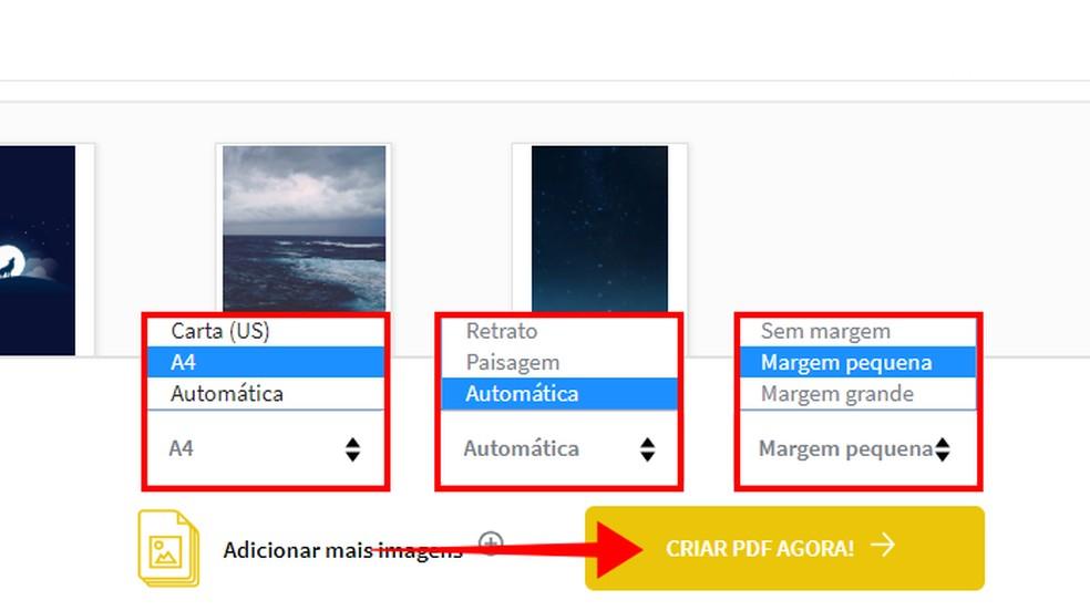 Personalize as imagens antes de criar o PDF — Foto: Reprodução/Paulo Alves