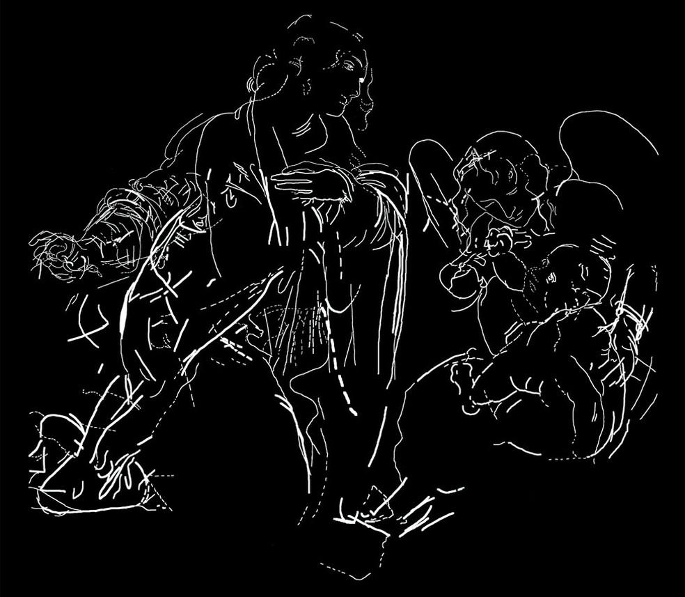 Desenho original descartado por Leonardo Da Vinci na produção da obra-prima Virgem das Rochas — Foto: National Gallery