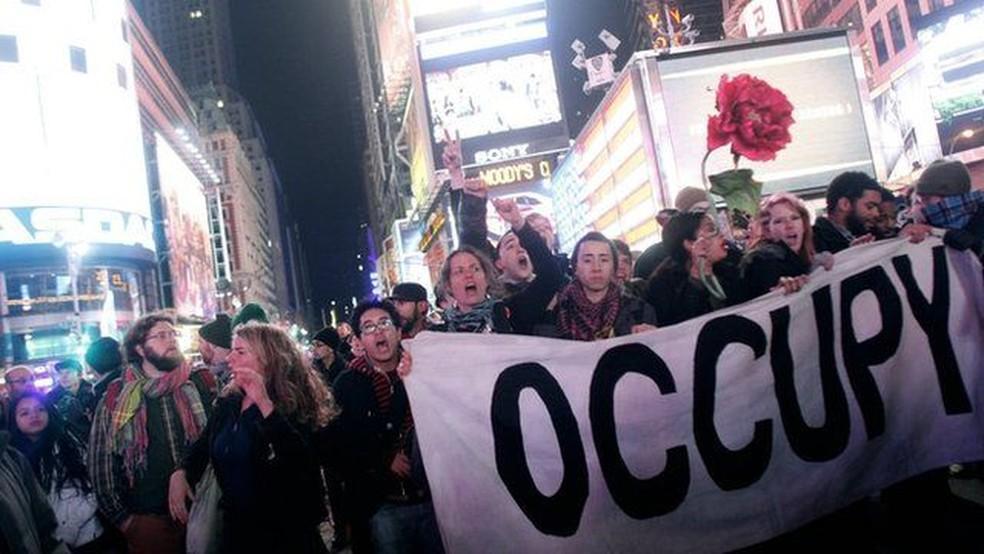O movimento Occupy Wall Street tomou as ruas de Nova York em 2011, atacando o capitalismo — Foto: Getty Images