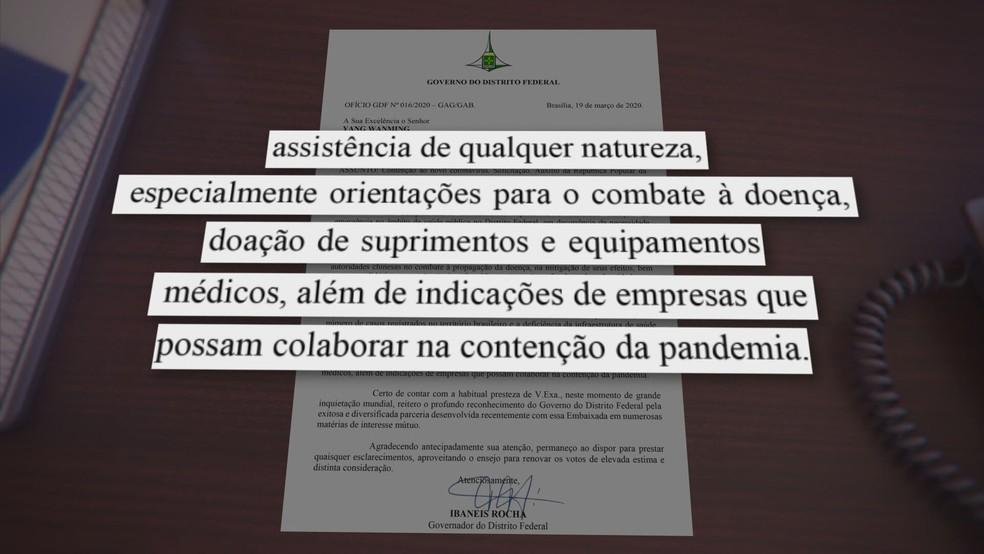 Pedido do governador Ibaneis Rocha à Embaixada da China — Foto: TV Globo/Reprodução